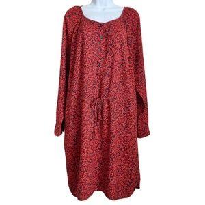 Gap Long Sleeve Red Floral Shift Dress